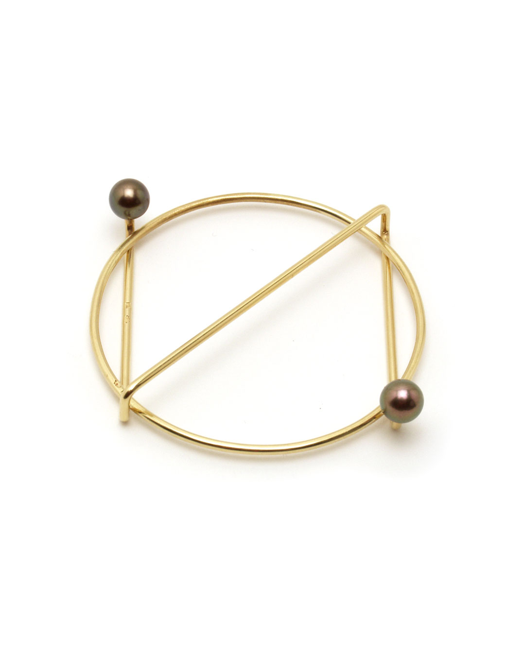 Herman Hermsen, untitled, 1989, brooch; 14ct yellow gold, pearls, 60 x 50 x 10 mm, €1275