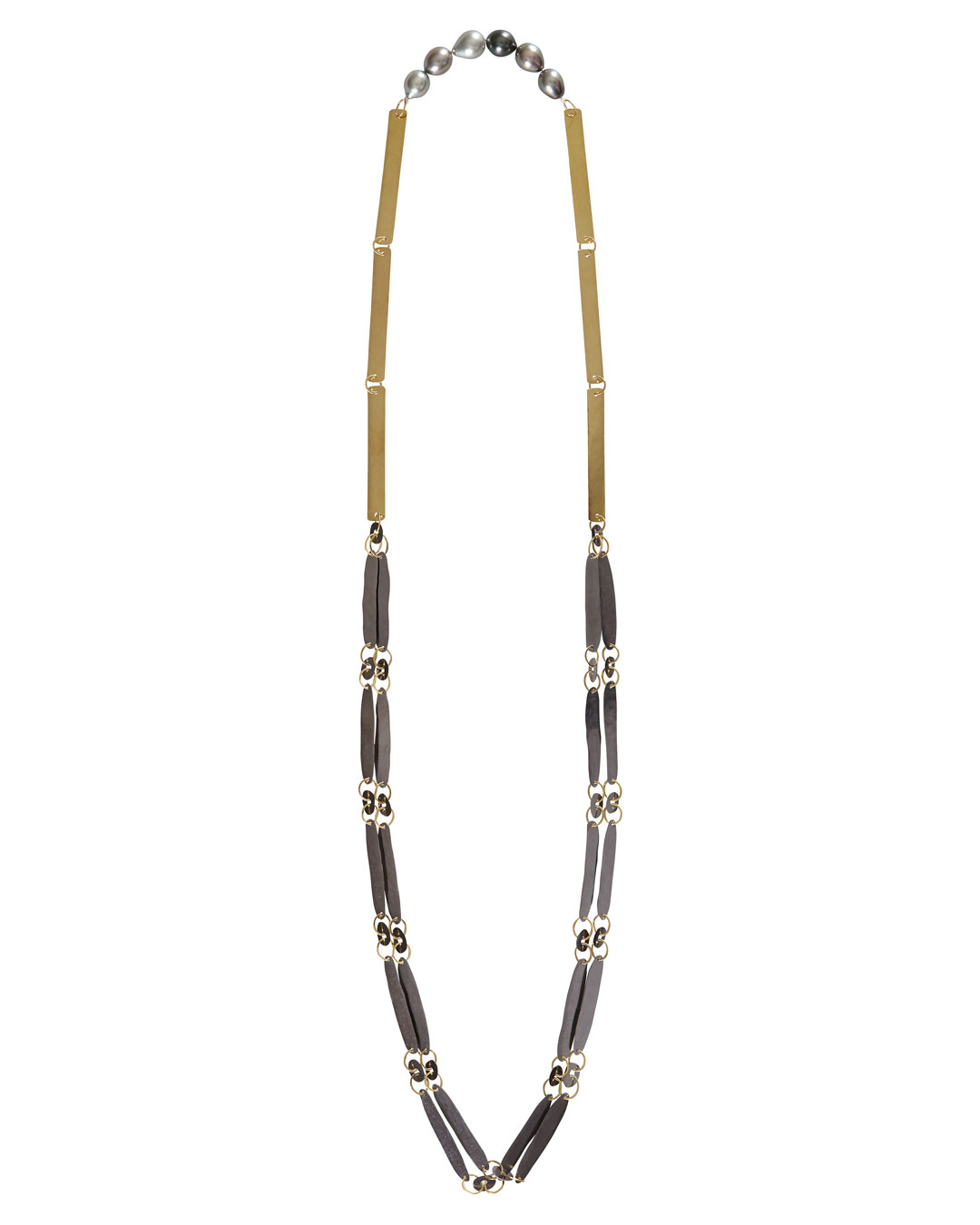 Annelies Planteijdt, Necklace with Blade of Grass, 2018, necklace; 18ct gold, tantalum, Tahiti pearls, 100 x 450 mm, €8875 (image 1/2)