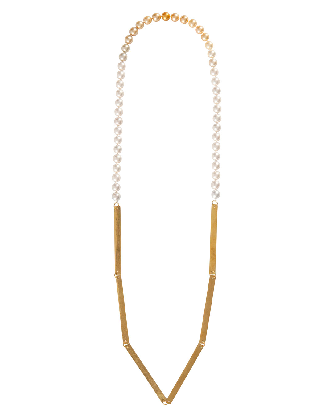 Annelies Planteijdt, Mooie stad – Collier en Chanel no.19 (Beautiful City - Necklace with Chanel no.19), 2017, necklace, gold, South Sea pearls, 150 x 360 mm, price on request (image 2/3)