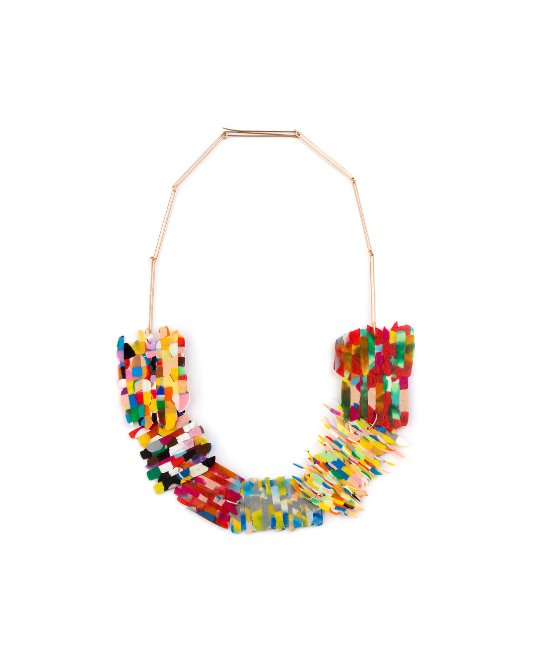 Karola Torkos, Patches, 2020, necklace; recycled plastic, 14ct rose gold, rose gold-plated copper, L 670 mm, €560