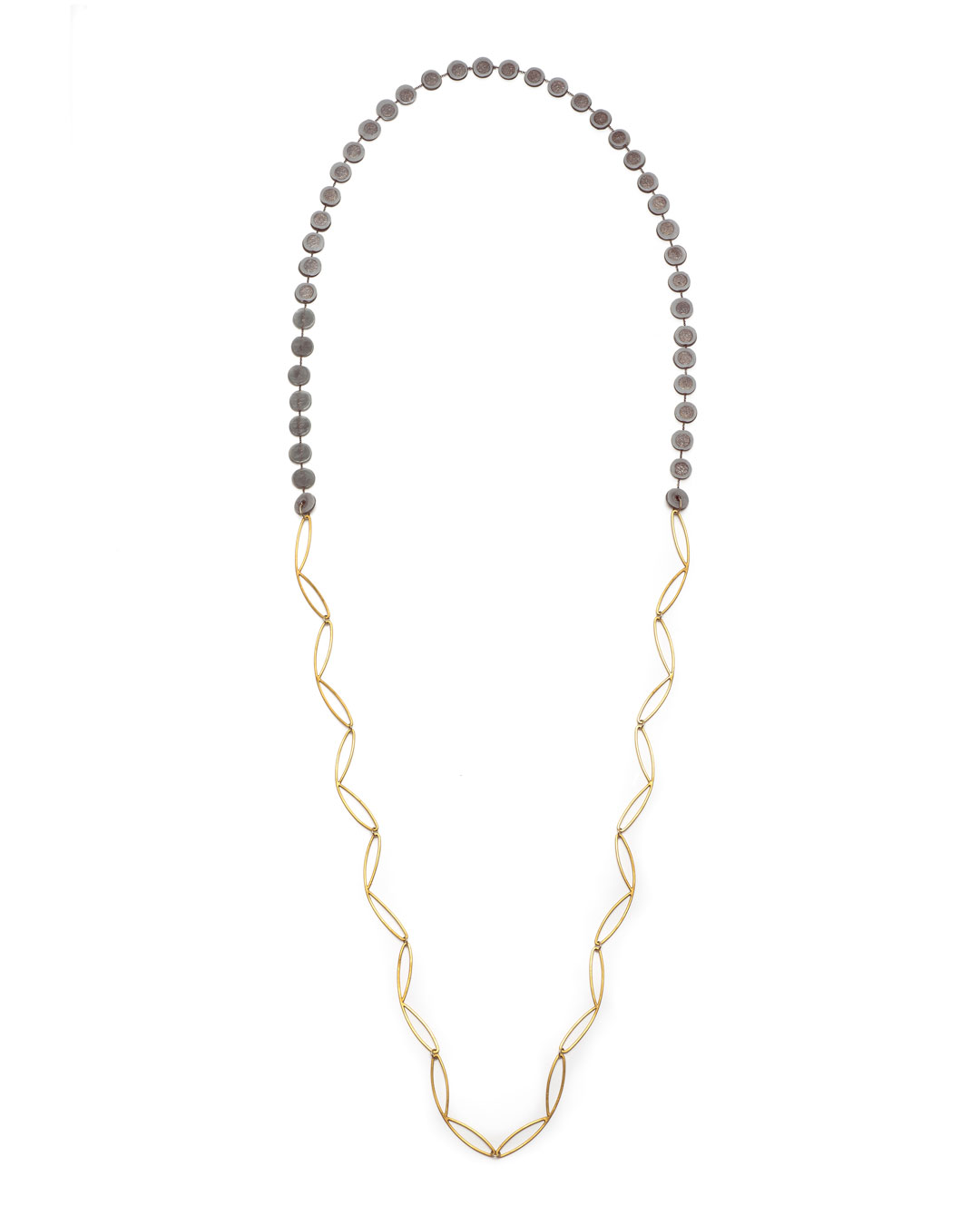 Karola Torkos, untitled, 2020, necklace; gold-plated copper, 14ct gold, oxidised silver, plastic, L 1140 mm, €460
