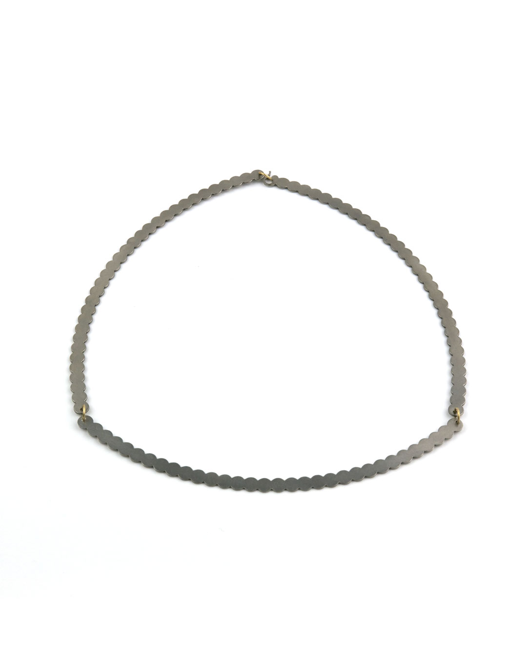 Karola Torkos, Modula, 2007, necklace; stainless steel, 8ct gold, ø 180 mm, €715