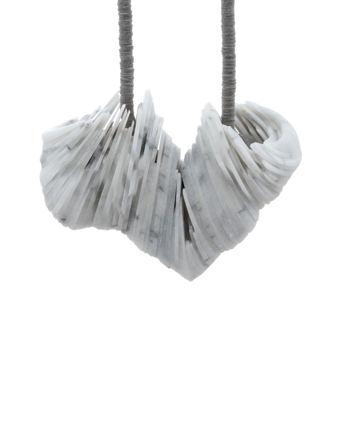 Tarja Tuupanen, untitled, 2015, necklace; ready-made marble tableware, velour sticker, steel wire, brass, 450 x 100 x 40 mm, €1700