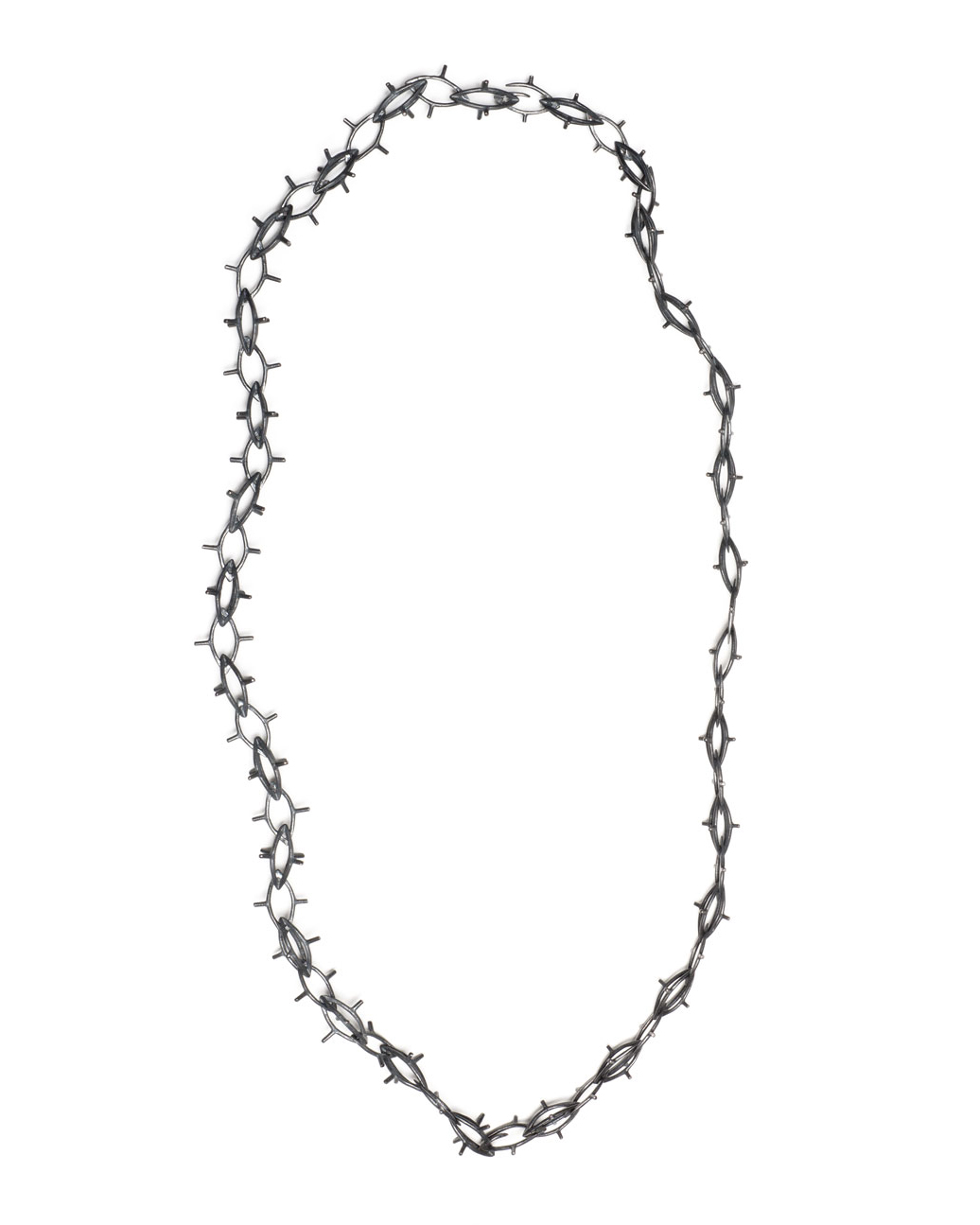 Winfried Krüger, untitled, 1997, necklace, ring; oxidised silver, stones, 150 x 150 mm, 50 x 25 mm, €1940 (image 1 of 2 - necklace)