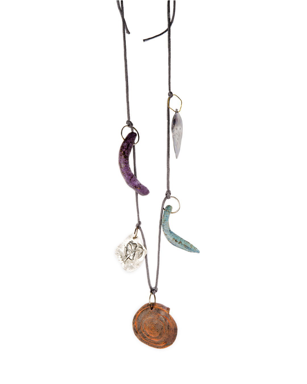 Julia Walter, Beach Necklace, 2019, necklace;  painted clay, silver, nylon string, aluminium, steel, L 500 mm, €875
