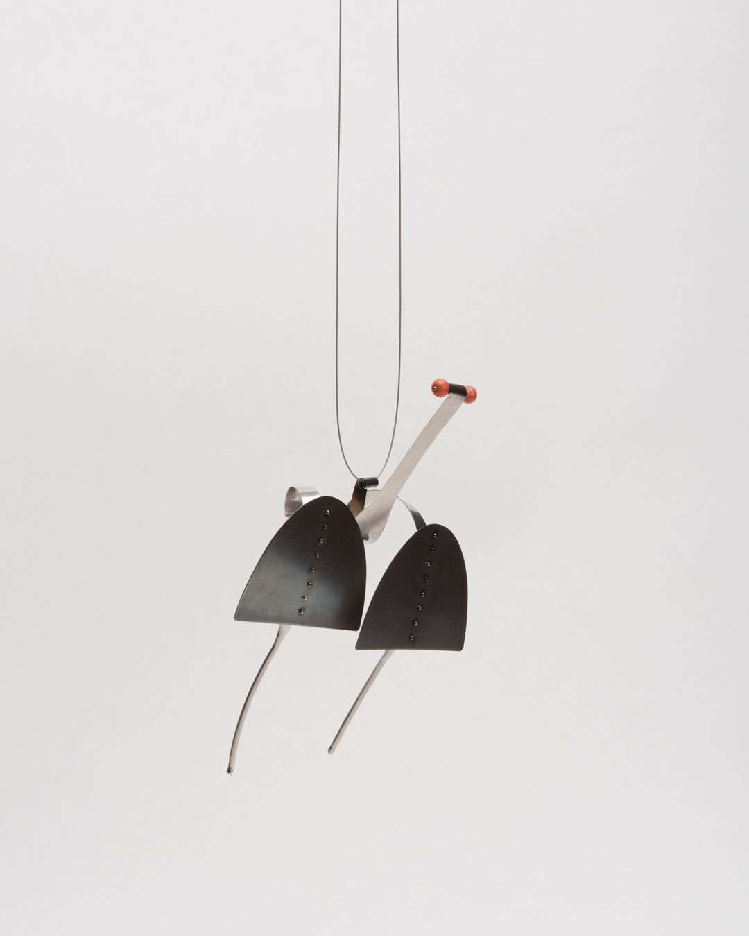 Andrea Wippermann, Lupus Papilio, 2017, pendant; stainless steel, coral, blackened silver, nylon, 130 x 80 x 40 mm, €2200