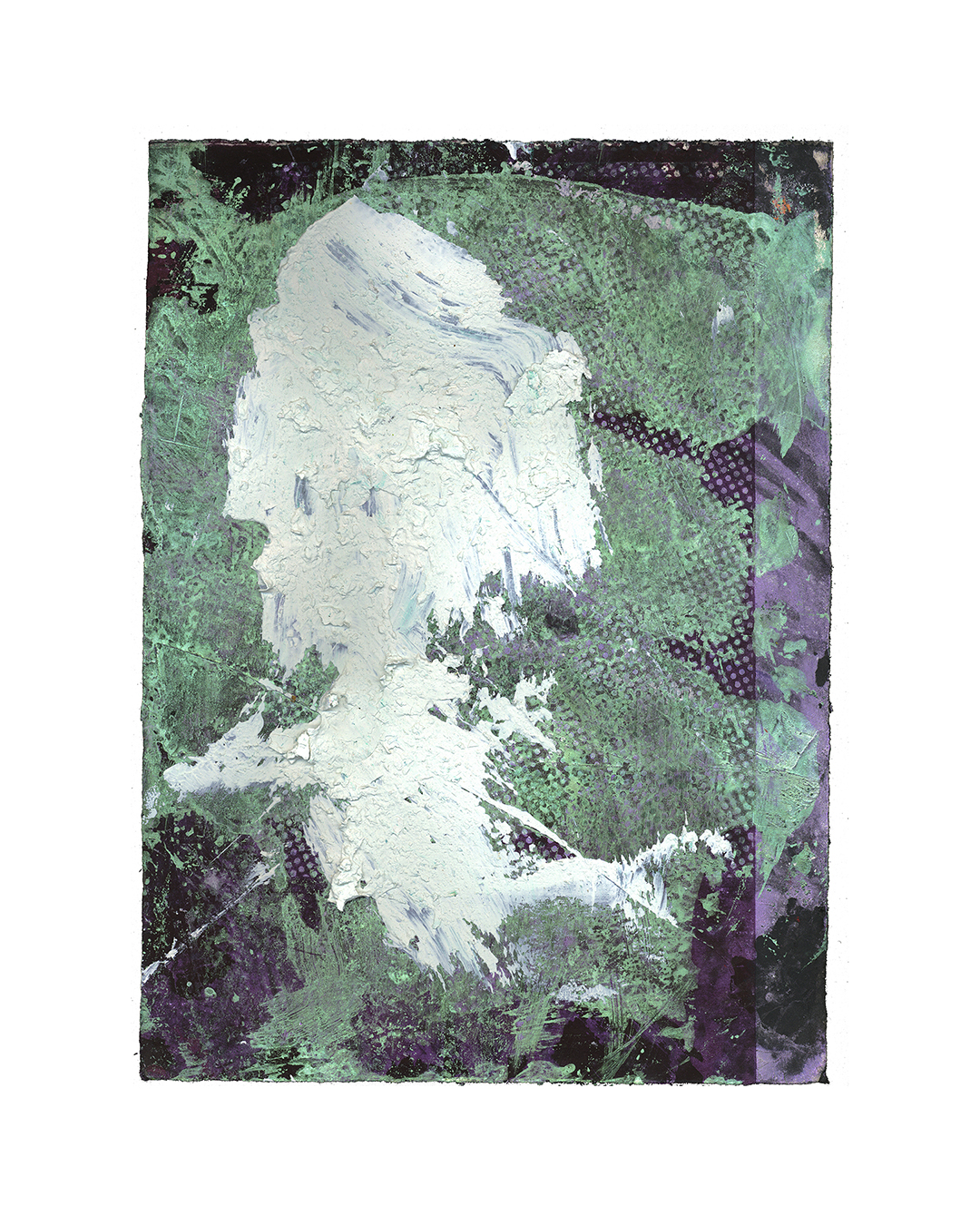 Piet Dieleman, untitled, 2020, painting, acrylic paint, pigment, laser woodprint on paper, 395 x 285 mm, €930
