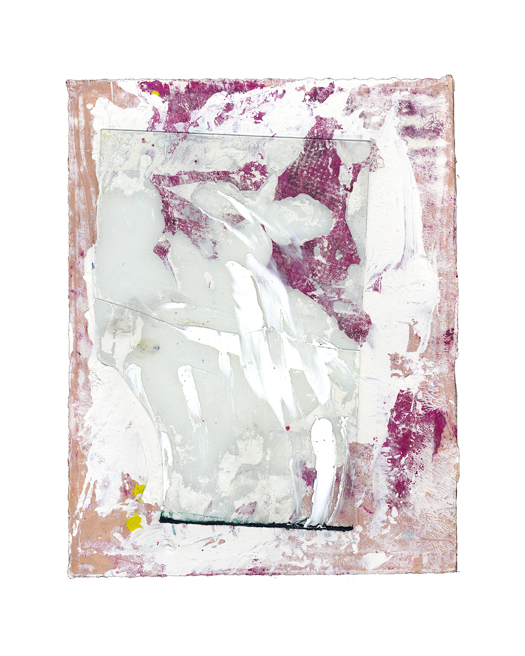Piet Dieleman, untitled, 2020, painting, glass, oil, tempera, paint, laser woodprint on paper, 380 x 295 mm, €930