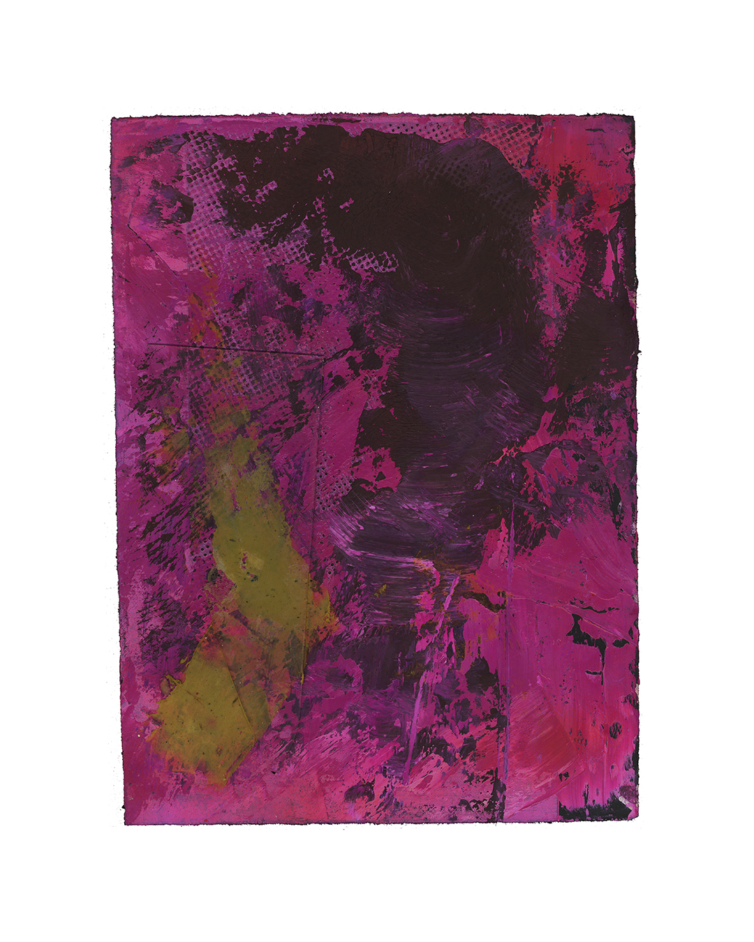 Piet Dieleman, untitled, 2020, painting, epoxy filler, glass, oil, tempera, paint, laser woodprint on paper, 395 x 285 mm, €930