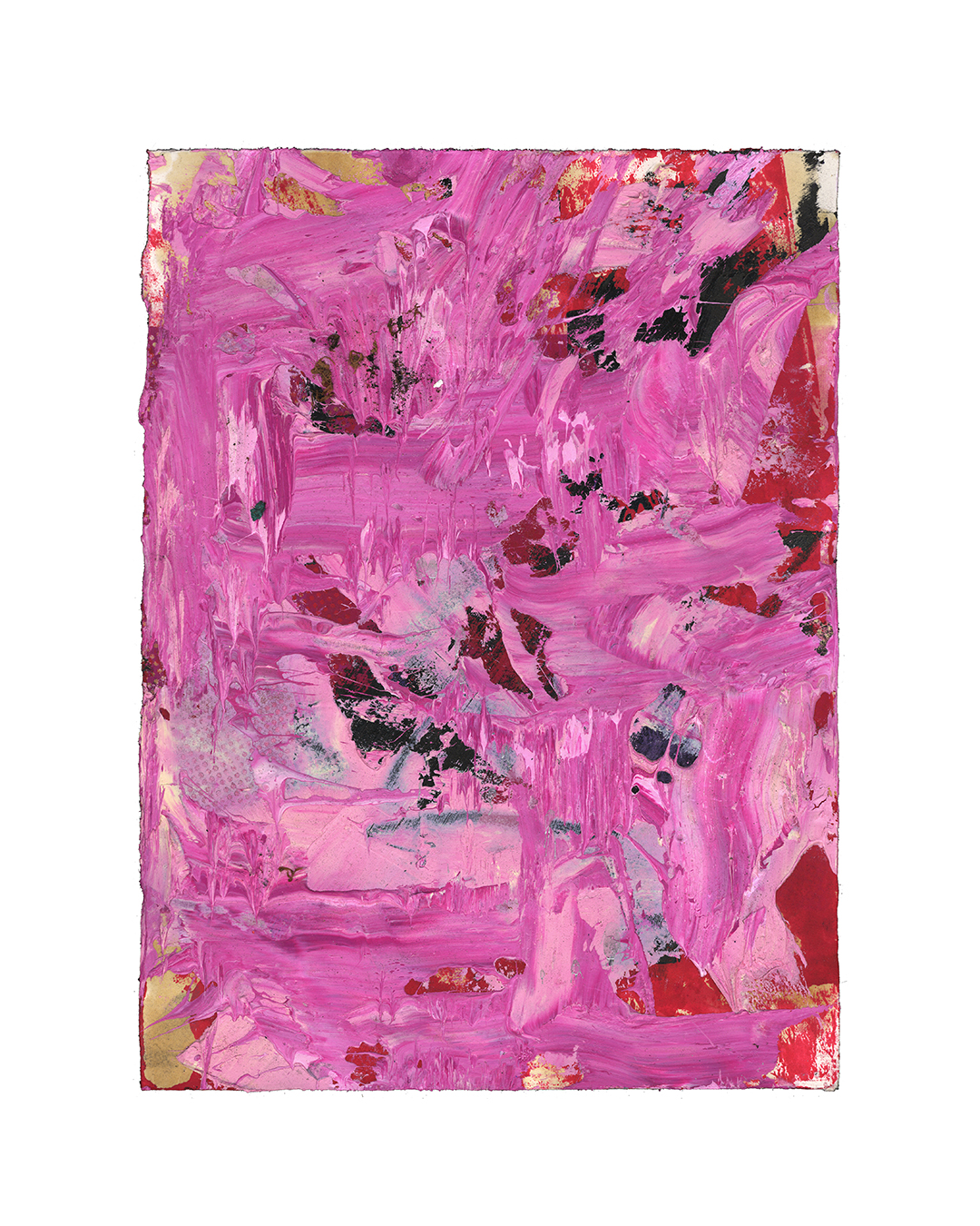 Piet Dieleman, untitled, 2020, painting, oil, tempera, paint, laser woodprint on paper, 395 x 285 mm, €930