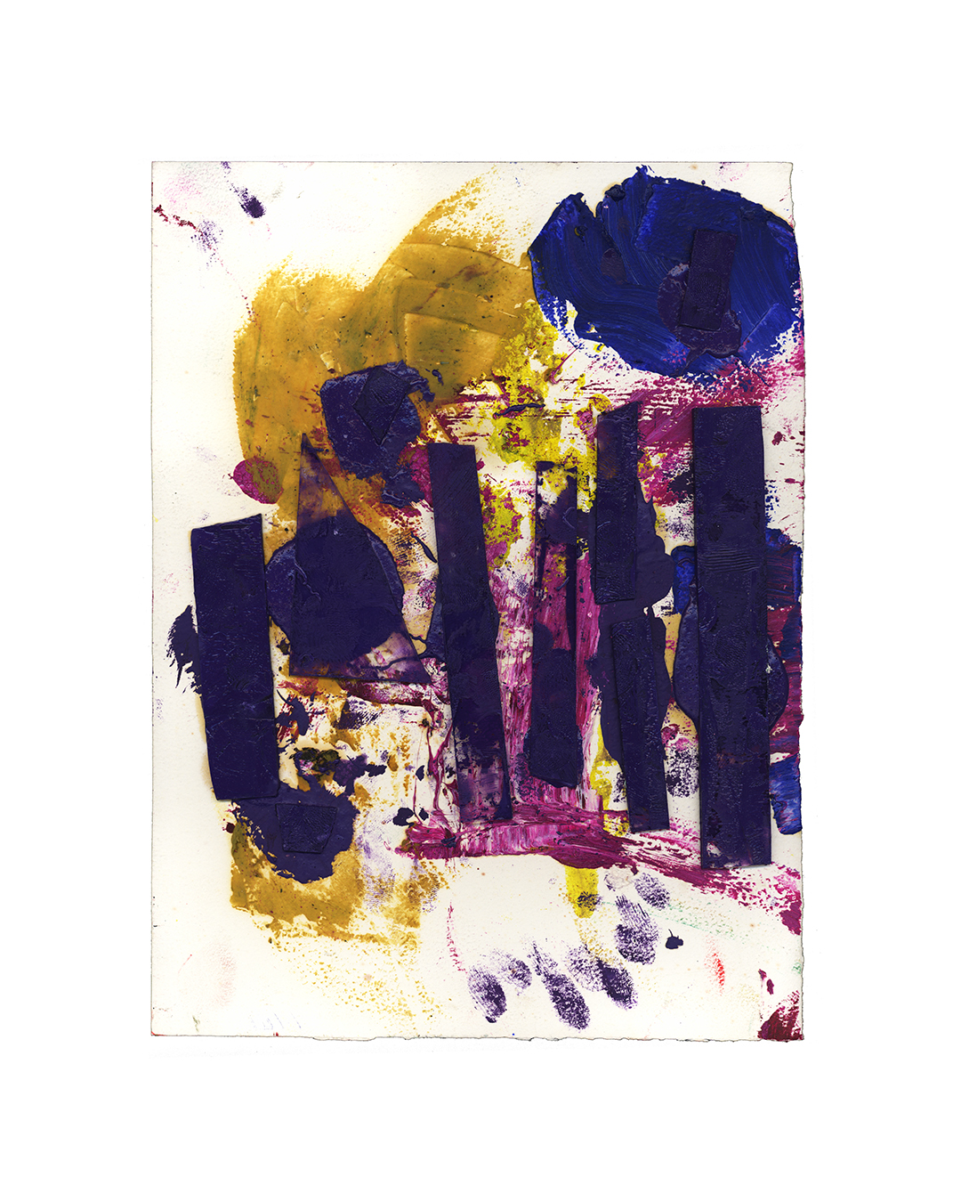Piet Dieleman, untitled, 2020, painting, epoxy filler, glass, oil, tempera, paint, laser woodprint on paper, 380 x 280 mm, €930