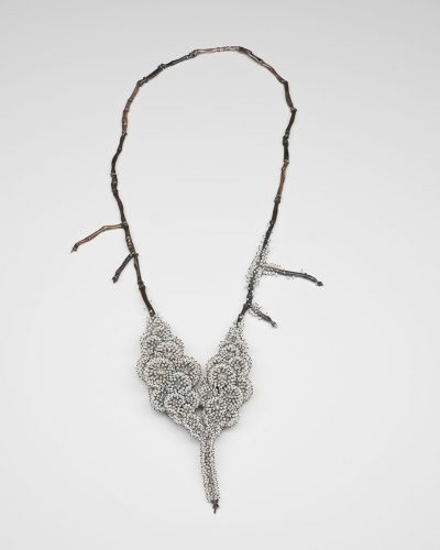 Sam Tho Duong, Frozen, 2018, necklace; silver, freshwater pearls, nylon, price on request