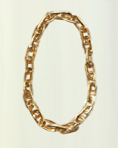 Katie Gibbon, Gold Leaf Chain, 2020, necklace; gold leaf 170 x 130 x 15 mm