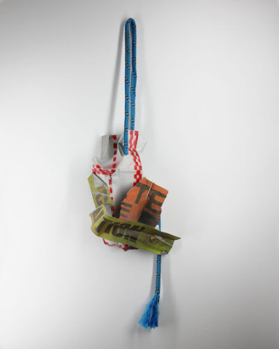 Simon Swale, Fragments III, 2020, necklace; enamelled stainless steel, found cord 270 x 198 x 110 mm